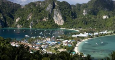 Phi Phi Don View Point. This Island is located in Hat Noppharat Thara - Mu Ko Phi Phi National Marine Park, Krabi