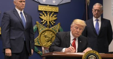 US President Donald Trump signing orders