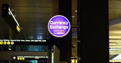 A currency exchange sign