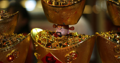 Gold ingot and Chinese god of prosperity