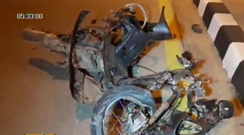Motorcycle badly damaged in accident