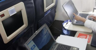 Laptops on an airplane