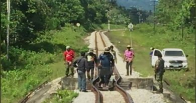 Bent train rails in Narathiwat