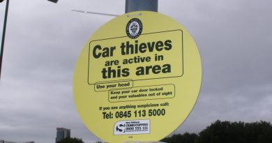 Car thief warning sign