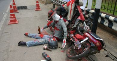 Songkran drunk driving dummy