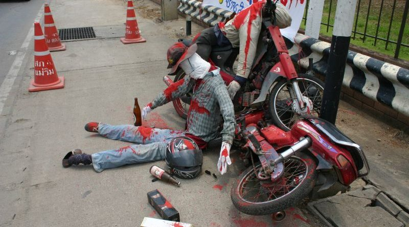 Songkran drunk driving dummy
