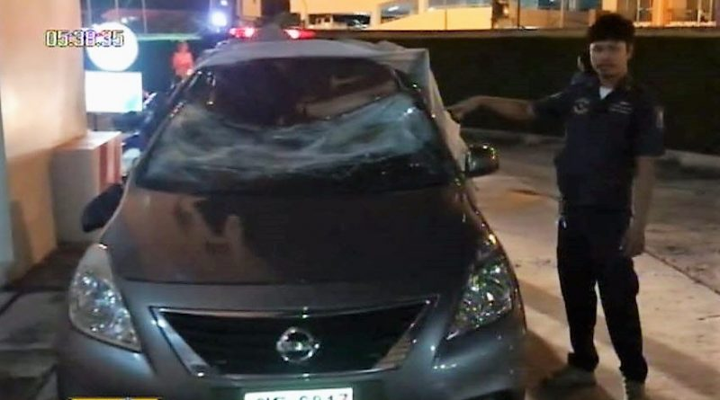 Car damaged by tourist falling off building