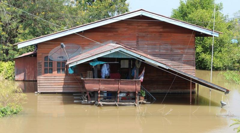 Badly flooded house Ayutthaya