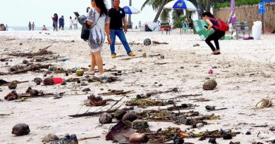 Hua Hin beach littered with trash washed up