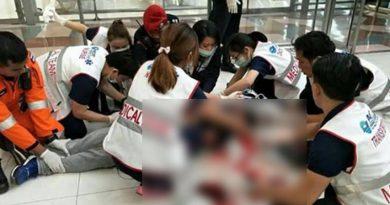 Airport passenger falls