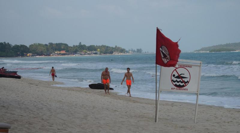 Red flags on Koh Samui beach resized
