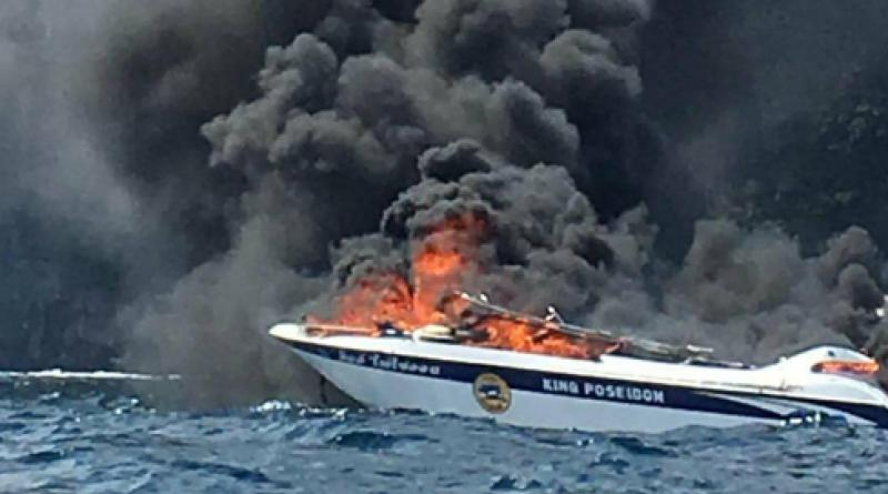 tourist boat catches fire