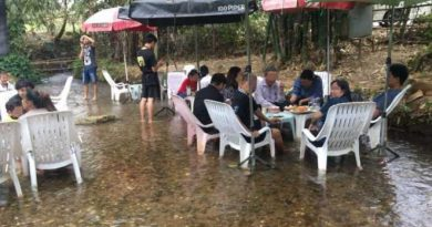 Chiang Mai restaurant with tables in the middle of a stream shut down
