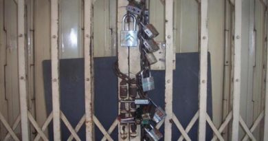 Many padlocks at store