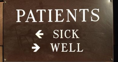 Patients sick and well sign at doctor's clinic