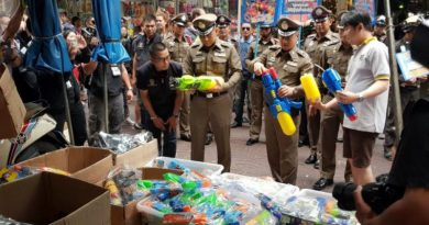 Songkran water gun Chinatown raid
