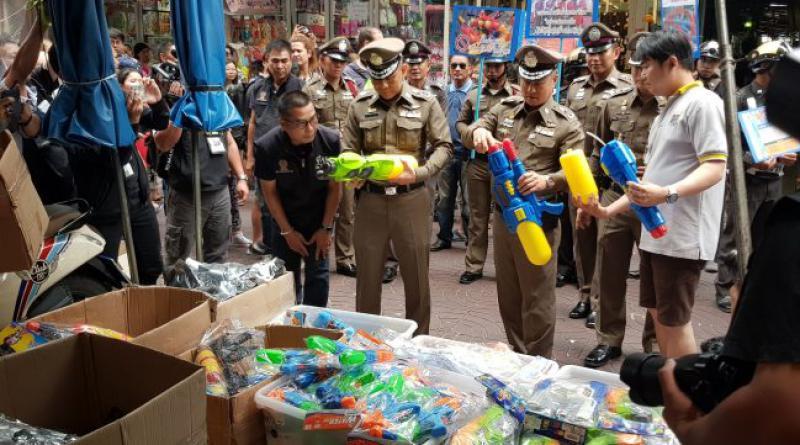 Songkran water gun Chinatown raid