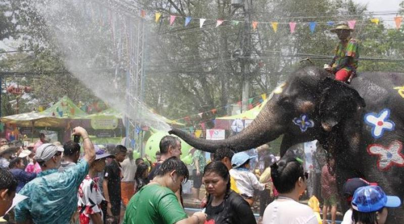 Songkran with elephants in Ayutthaya