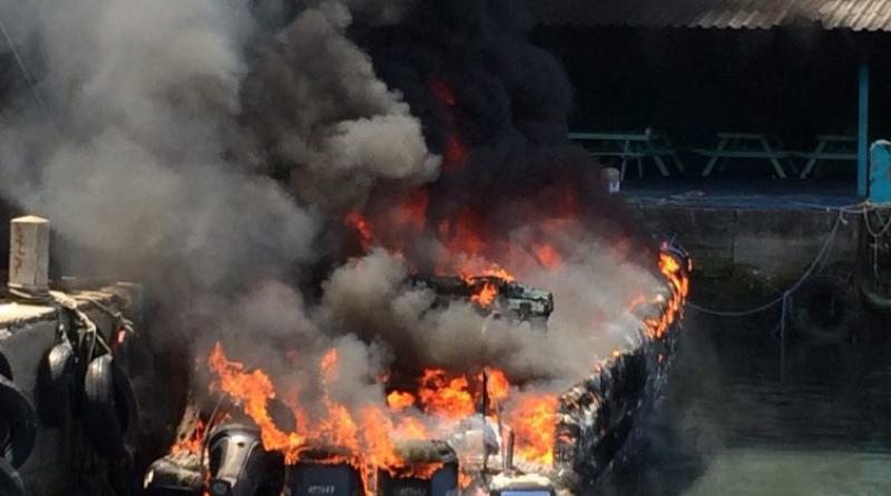 speed boat fire Phang Nga