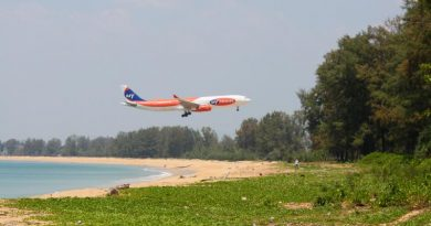 Airplane landing at Phuket airport