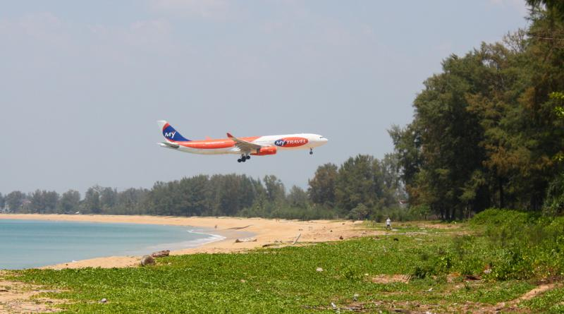 Airplane landing at Phuket airport