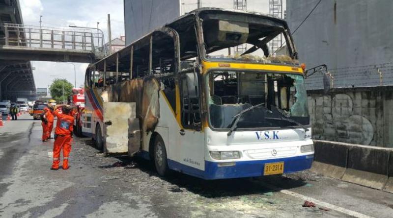 Bus ablaze Bangkok expressway