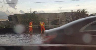 Flooded expressway ramp