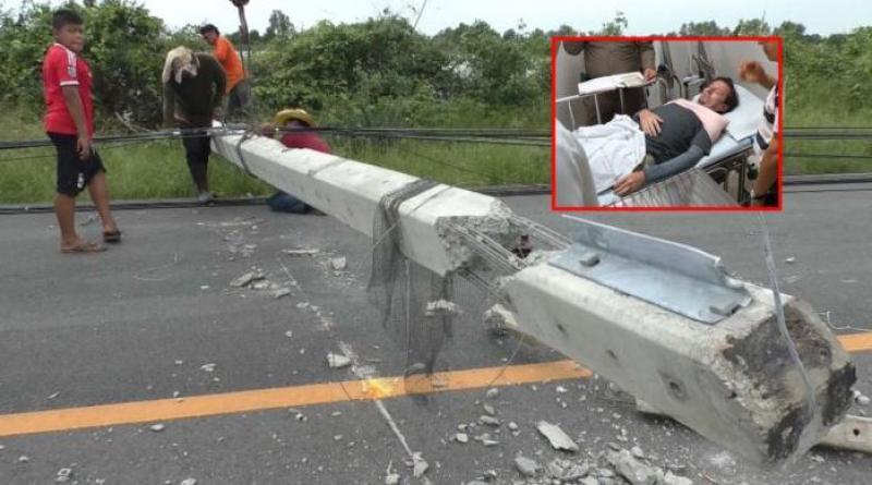 German tourist hurt toppled power poles