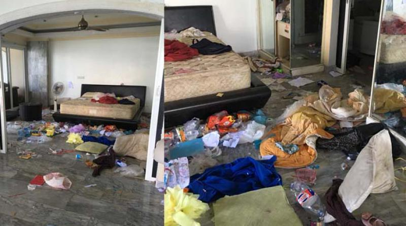 Posh condo turned into rubbish dump