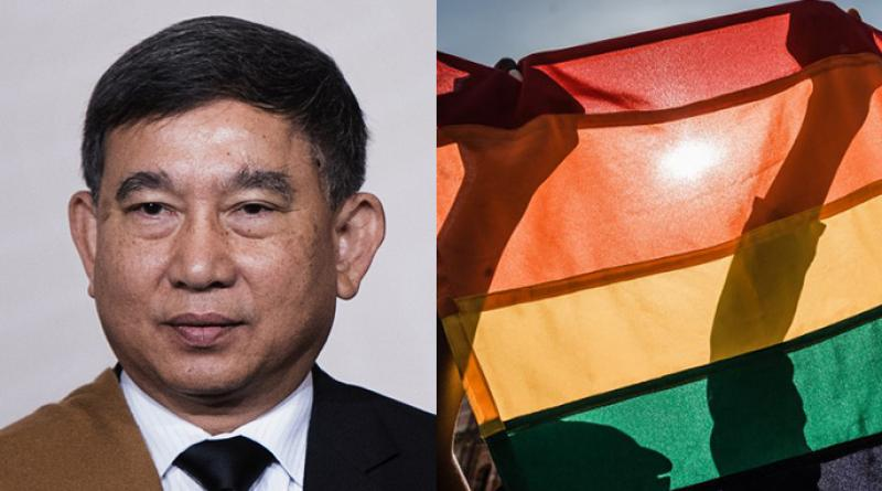 Justice Minister Prajin and the Rainbow gay pride flag