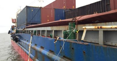 damaged cargo ship