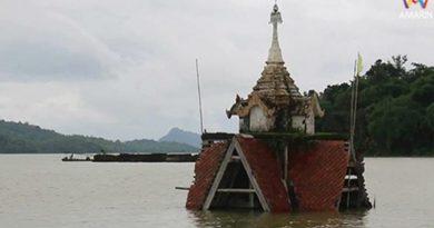 Famous Kanchanaburi temple flooded