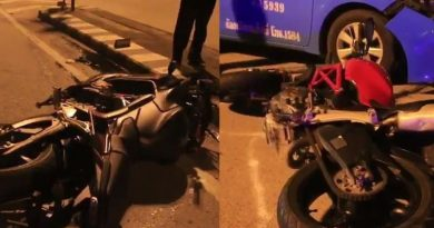 big bikes after the accident in Bangkok